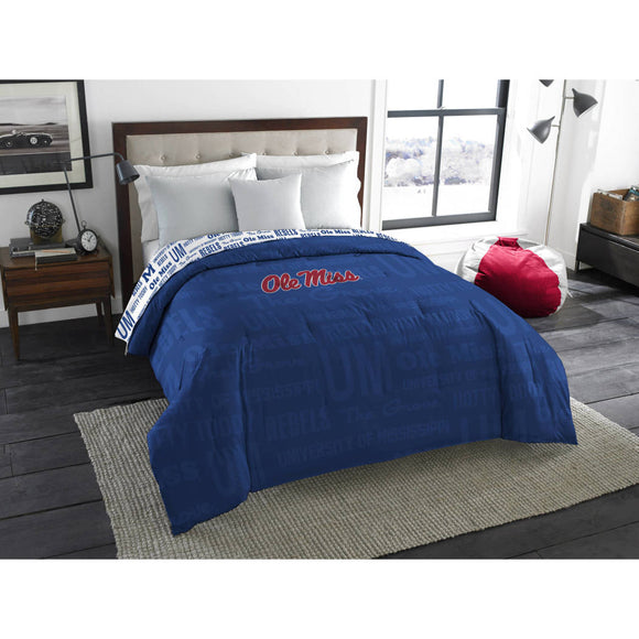 NCAA Ole Miss Rebels Comforter Full/Twin Sports Patterned Bedding Team Logo Fan Merchandise Team Spirit College Basket Ball Themed Blue Red Unisex - Diamond Home USA
