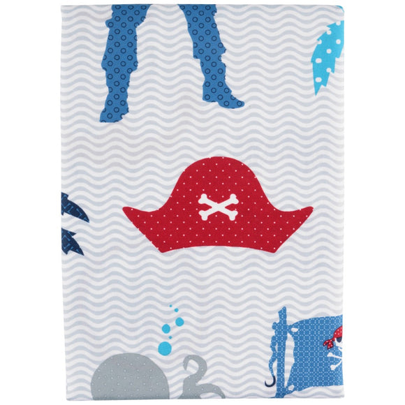 Kids Blue Cute Pirate Themed Shower Curtain 70x72 Inch Blue Ahoy Mates Bathroom Decoration Adorable Pirates Skull Crossbone Flag Sharks Octopus - Diamond Home USA