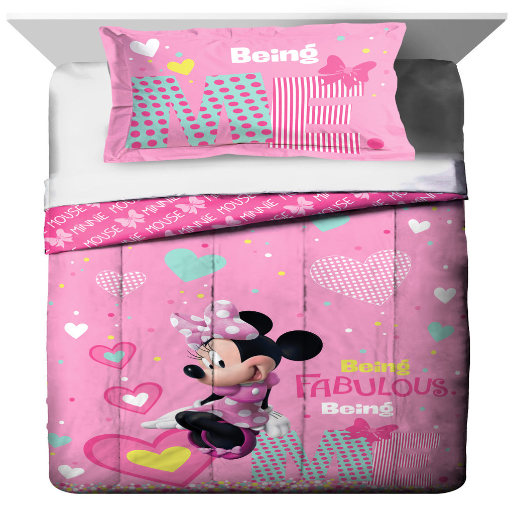 Kids Girls White Pink Minnie Mouse Comforter Twin/Full Set Disney Black Girl Mickey Mouse Bedding Mini Polka Dot Bow Hearts Plaid Teal Blue - Diamond Home USA