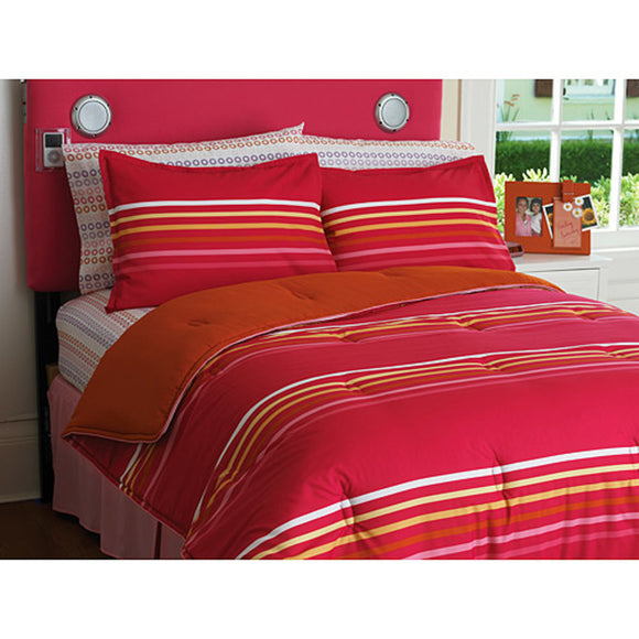 Nautical Stripes Pattern Comforter Set Stylish Rugby Stripe Inspired Design Sports Theme Bedding