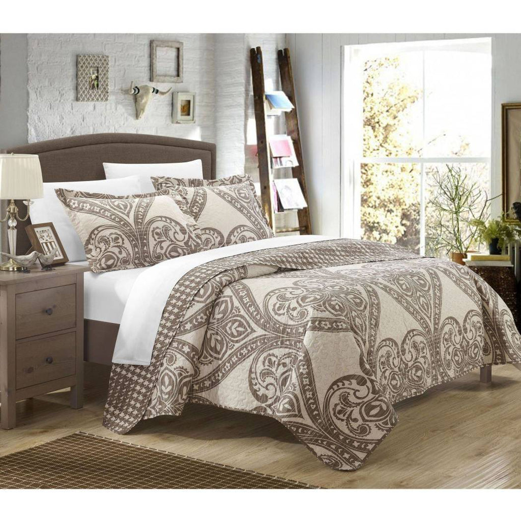Paisley Scale Motif Pattern Quilt Set Embroidered Houndstooth Bohemian Diamond Home