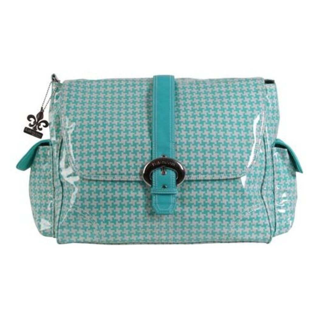 Teal White Large Geometric Diaper Bag Babies Baby Nursery Tote Backpack Star Ikat Jacquard Pattern Design Roomy Changing Pad Zippered Storage Shoulder Strap Cotton - Diamond Home USA