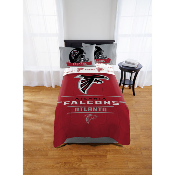 NFL Atlanta Falcons Comforter Twin/Full Sports Patterned Bedding Team Logo Fan Merchandise Team Spirit Football Themed National Football League Black Red