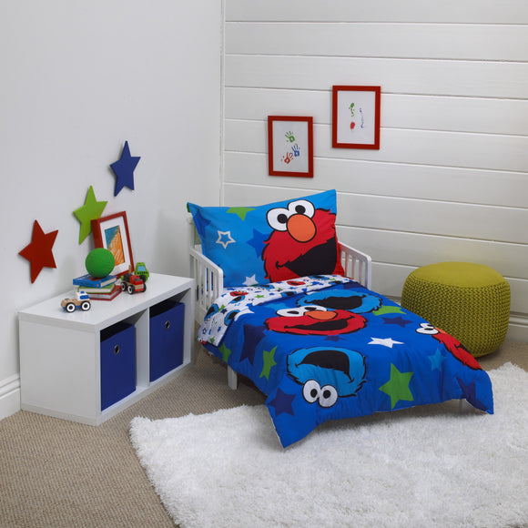 Boys Blue Sesame Street Toddler Bedding Star Toddler Bedspread Set Elmo Cookie Monster Toddler Set Tv Series Characters Red Green White Colored - Diamond Home USA