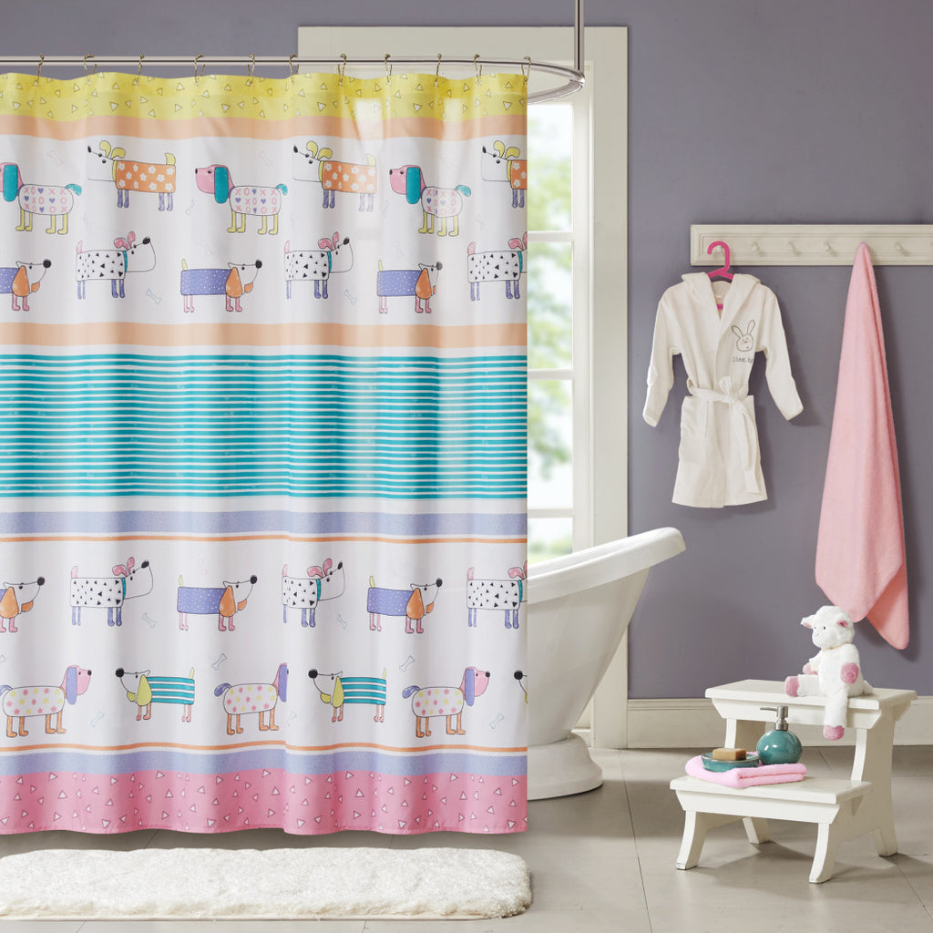 Kids Chowder Beagle Dogs Shower Curtain Pet Animals Bathroom Decoration Cute Doggy Flower Stripes Triangles