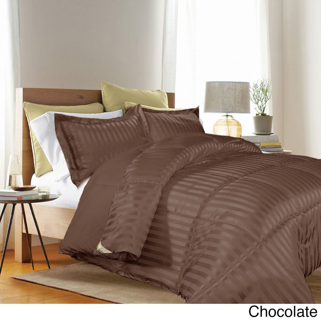 Damask Stripe Comforter Set Fancy Luxury Bedding Classic Traditional Microfiber Polyester Durable Medium Black