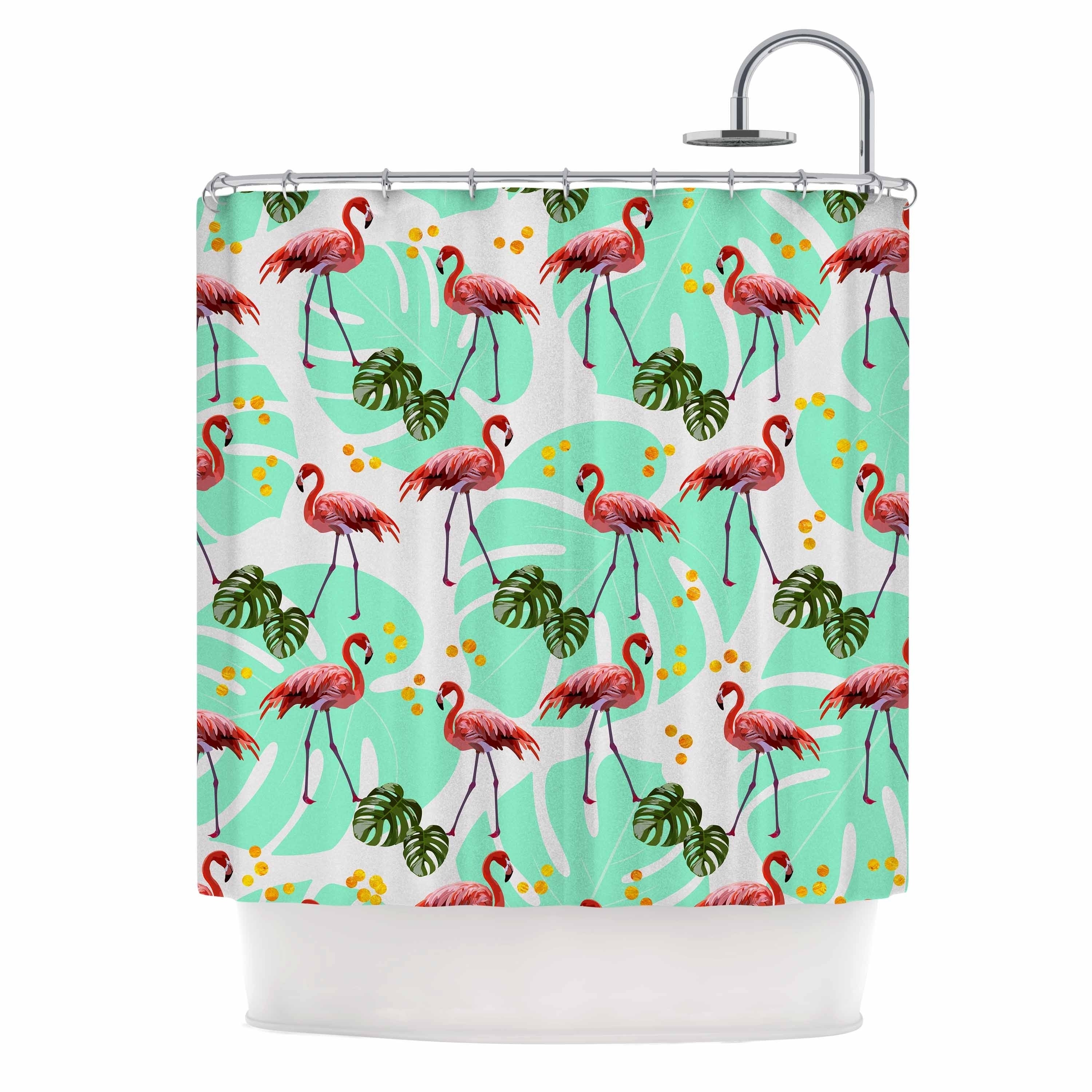 """ Flamingos Pattern With Monster"" Green Pink Vector Shower Curtain Polyester - Diamond Home USA"