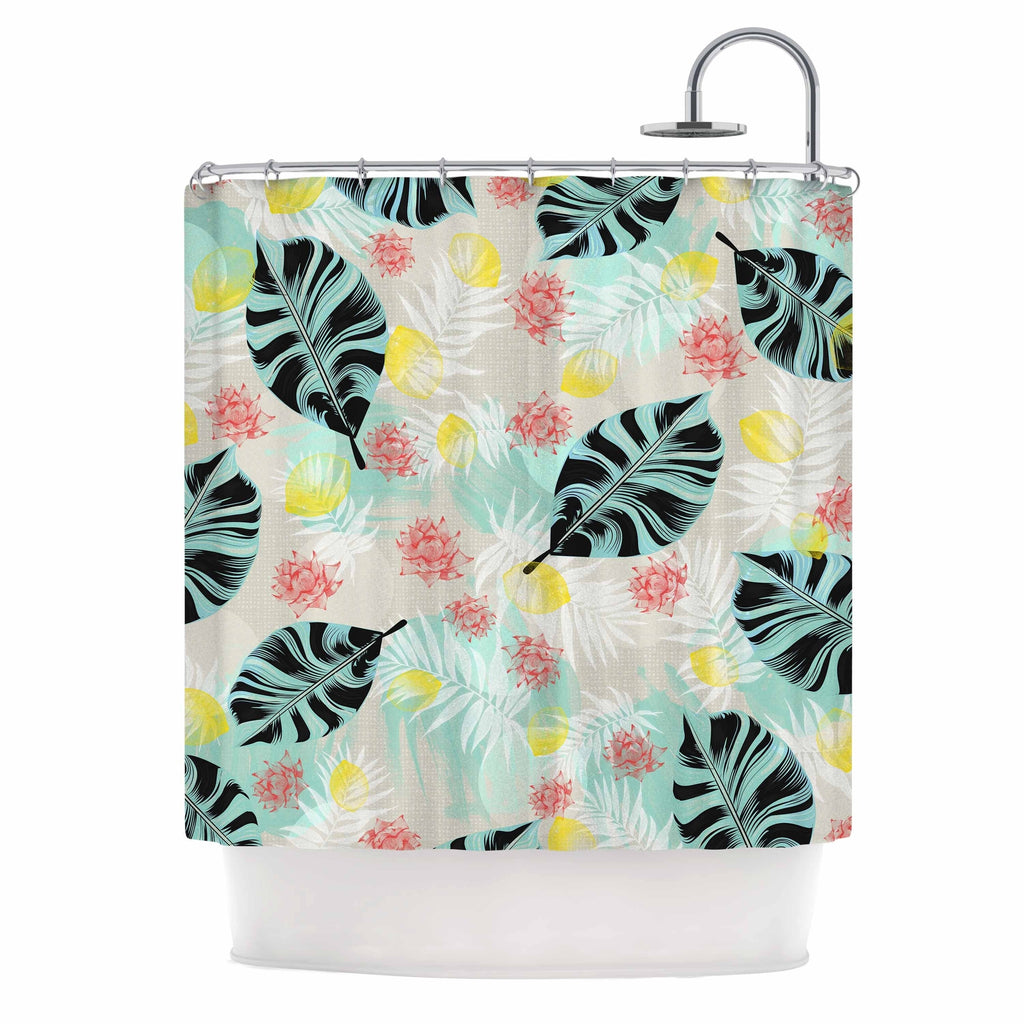 """ Tropical Plants"" Shower Curtain Blue Polyester - Diamond Home USA"