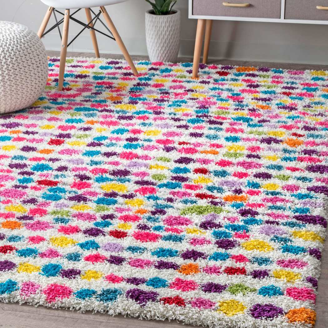 5x8 Kids Pink Purple Blue Striped Dots Shag Area Rug Rectangle Shaped Indoor Green Yellow Bohemian Carpet Bedroom Floor Mat Teens Polkadots - Diamond Home USA