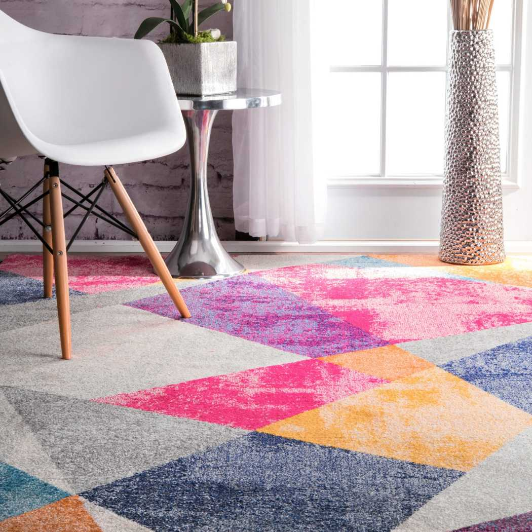 4' x 6' Pink Purple Blue Grey Yellow Orange Vibrant Geometric Triangles Area Rug Rectangle Indoor Modern Abstract Triangle Shapes Carpet Mat Bohemian - Diamond Home USA