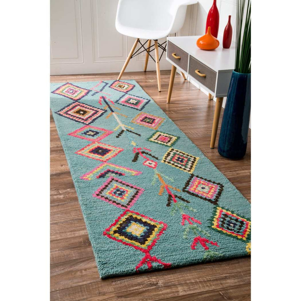 2'6 x 8' Blue Red Tribal Theme Runner Rug Rectangle Green Yellow Southwest Pattern Hallway Carpet Pink Orange South West Themed Native American - Diamond Home USA