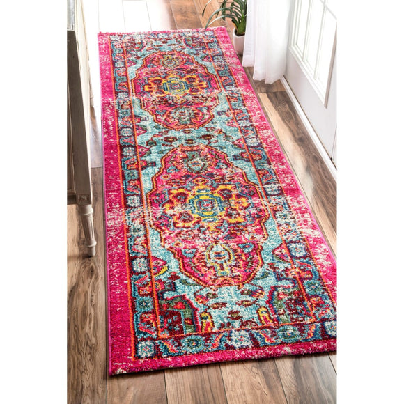 2'6 x 8' Pink Red Blue Yellow Abstract Vintage Oriental Runner Rug Rectangle Indoor Vibrant Bohemian Medallion Carpet Mat Ornamental - Diamond Home USA