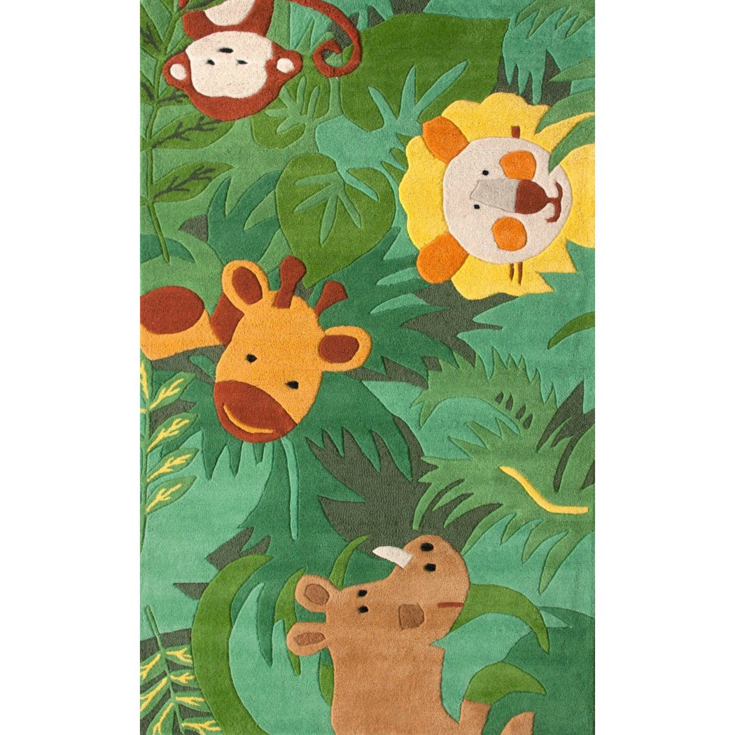 3'6 x 5'6 Kids Green Yellow Brown Safari Animals Area Rug Rectangle Indoor Wildlife Jungle Animals Carpet Mat Animal Pattern Lion Monkey Rhino Giraffe - Diamond Home USA