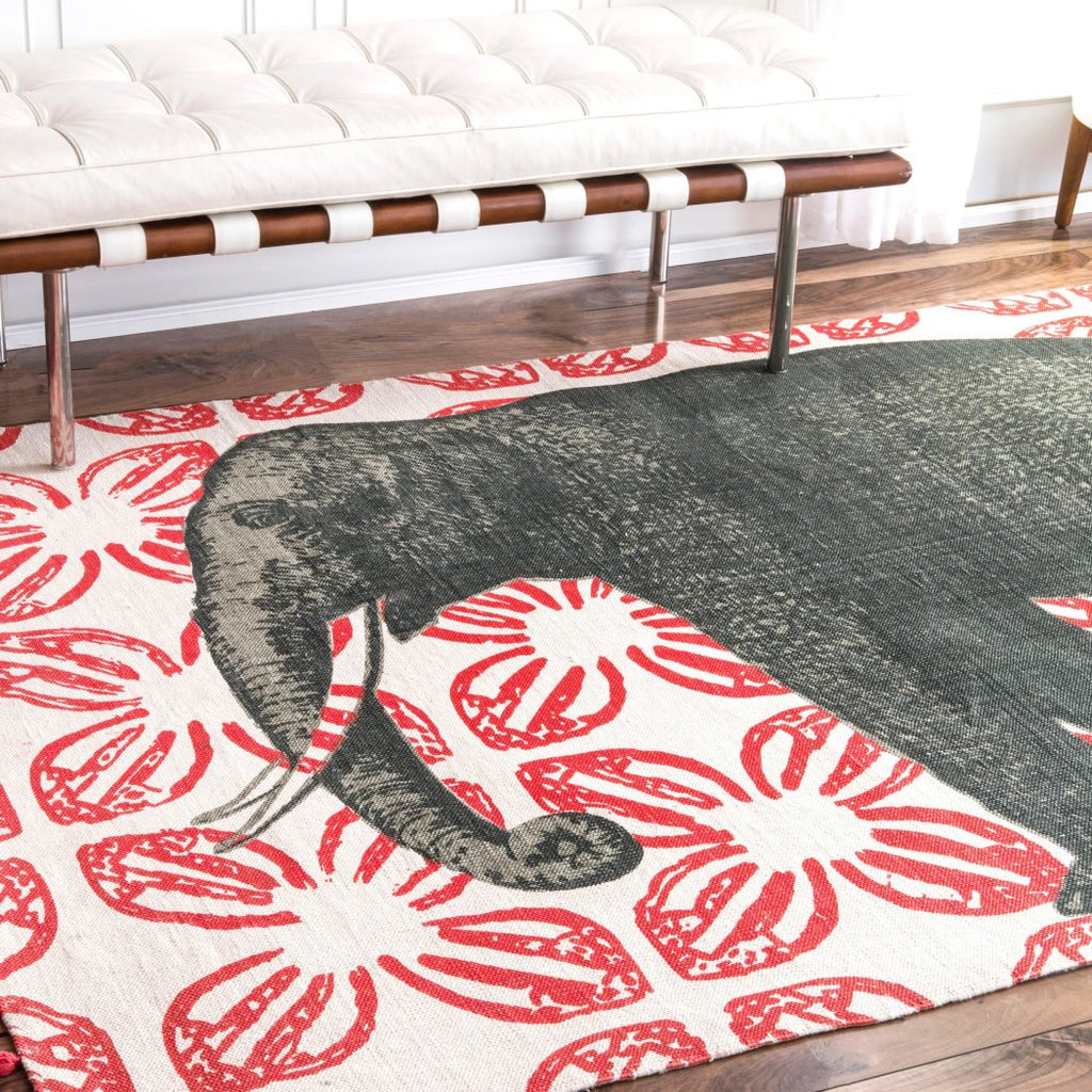 4'x6' Red Grey Elephant Wildlife Printed Area Rug Indoor Animal Pattern Living Room Rectangle Carpet Southwest Cabin Themed Soft Cotton Hunting Wild - Diamond Home USA