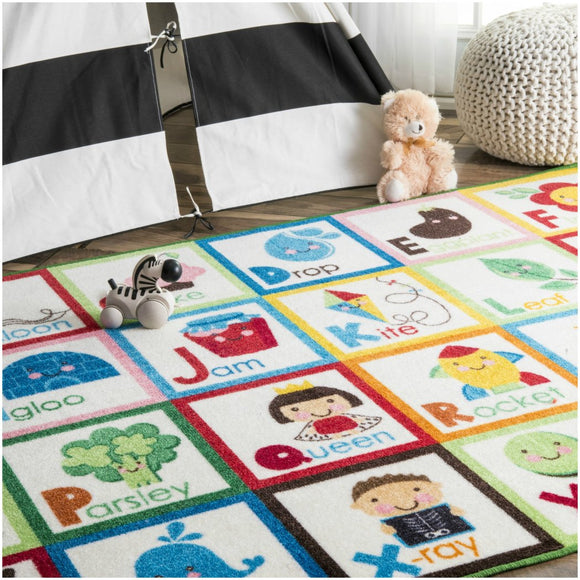 3'3 x 5' Playtime ABC Animal Educational Alphabet Color Kids Area Rug Nylon Contemporary Tween Animal Graphic Bold Unique Rectangular Indoor Bedroom - Diamond Home USA