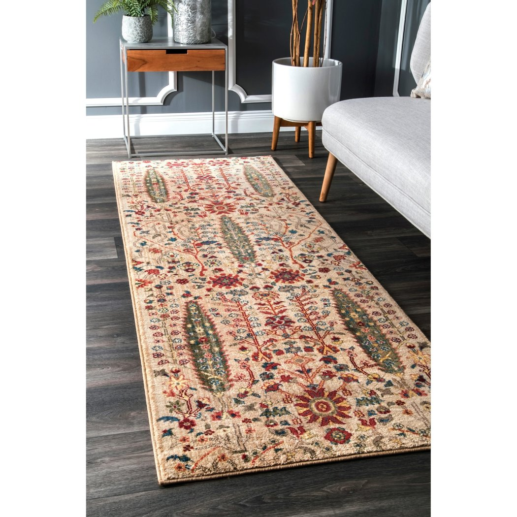 2'8 x 8' Brown Tan Southwest Theme Runner Rug Rectangle Indoor Beige Red Tribal Pattern Hallway Carpet Floral Vines Entryway Native American Themed - Diamond Home USA