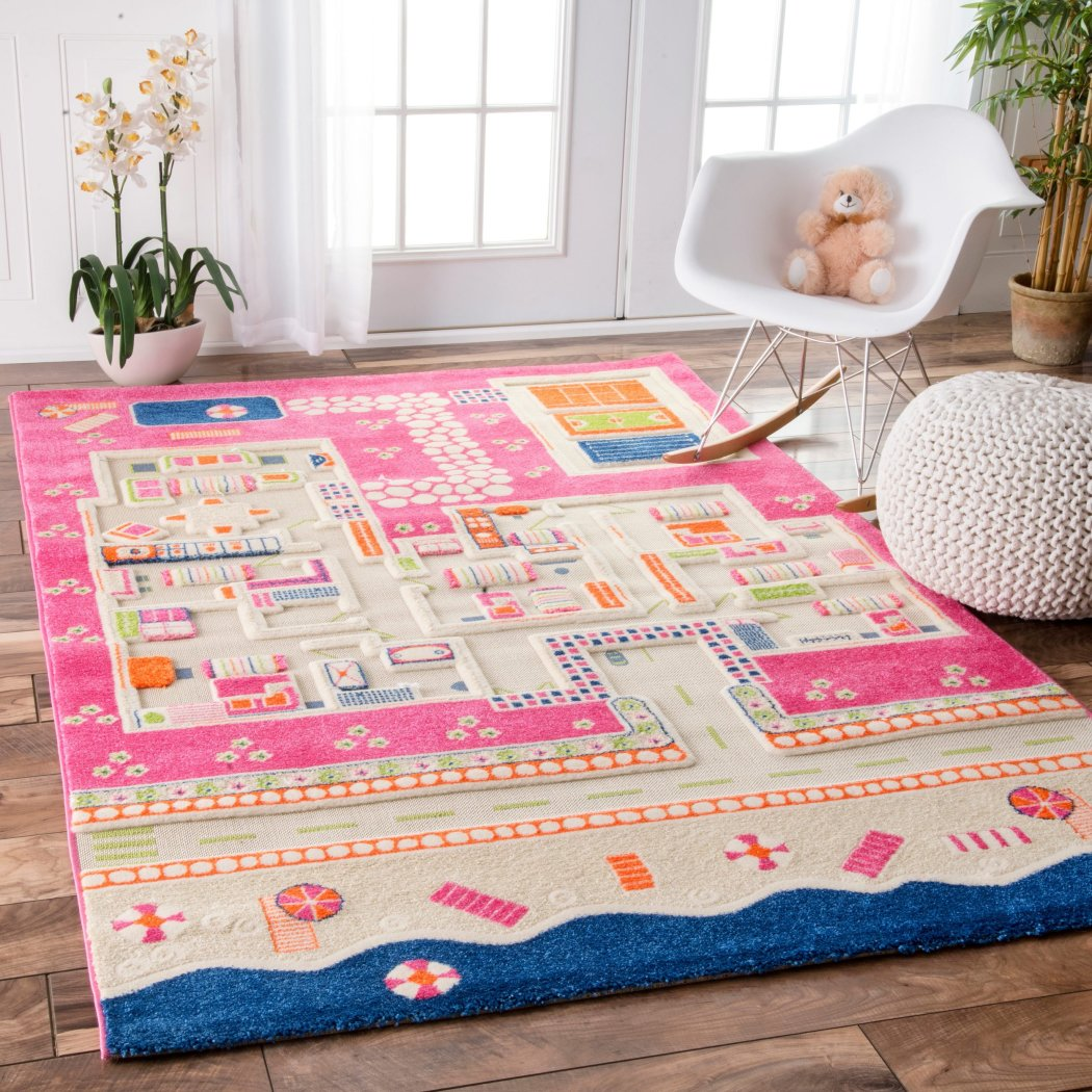 "3'x5'7"" Pink Blue Summer Playhouse Printed Area Rug Indoor Graphical Pattern Living Room Rectangle Carpet Graphic Art Themed Vibrant Color Soft - Diamond Home USA"