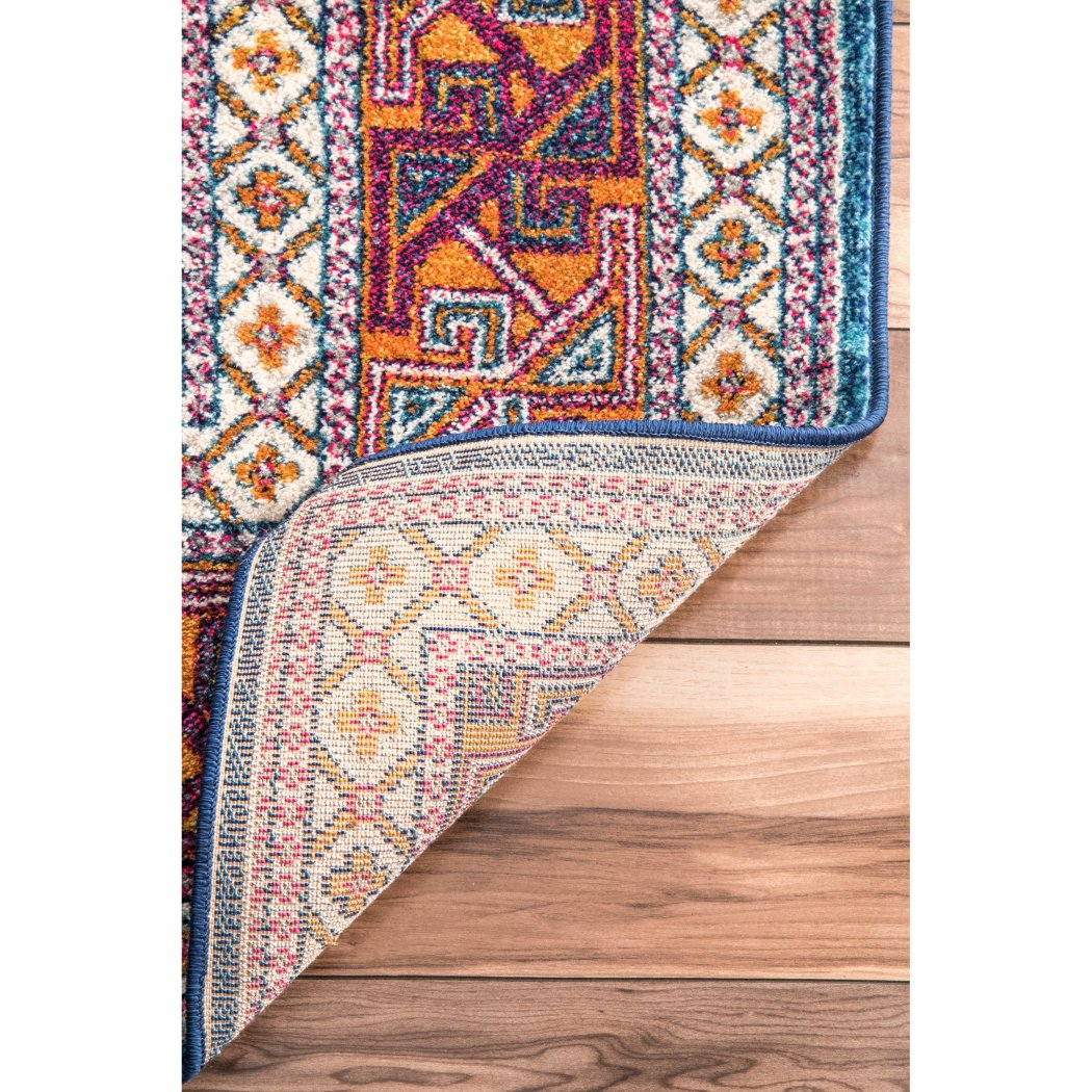 2'8 x 12' Red Brown Southwest Theme Runner Rug Rectangle Indoor Blue Yellow Tribal Native American Pattern Hallway Carpet Southwestern Bohemian - Diamond Home USA