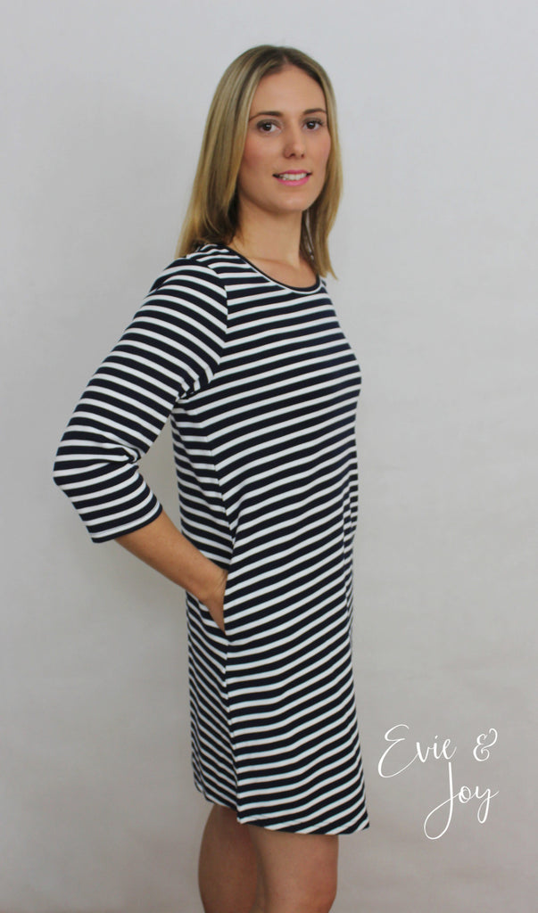 Rosie Tunic Dress - Navy/White