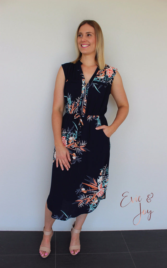 Mia Dress - Navy with Coral Floral