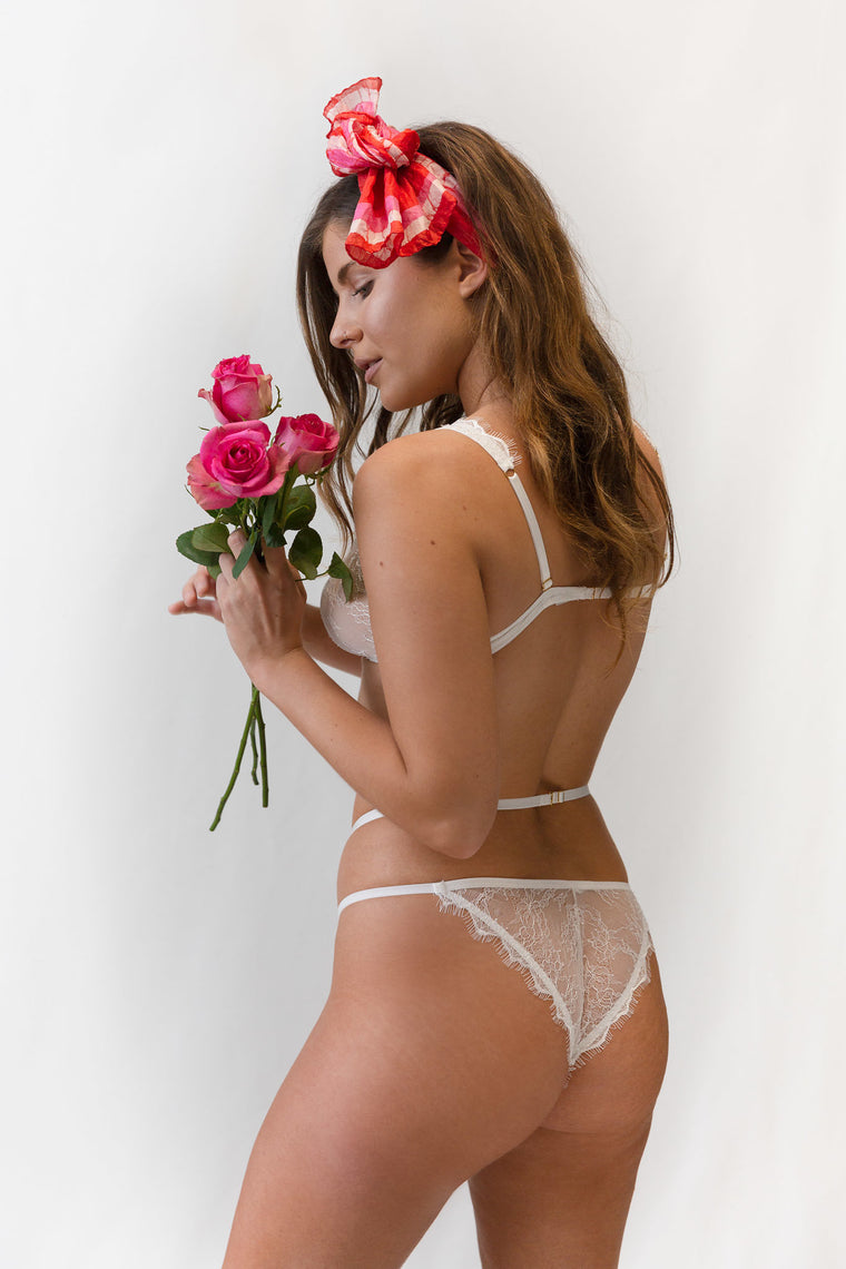 Iris White Lace Thong