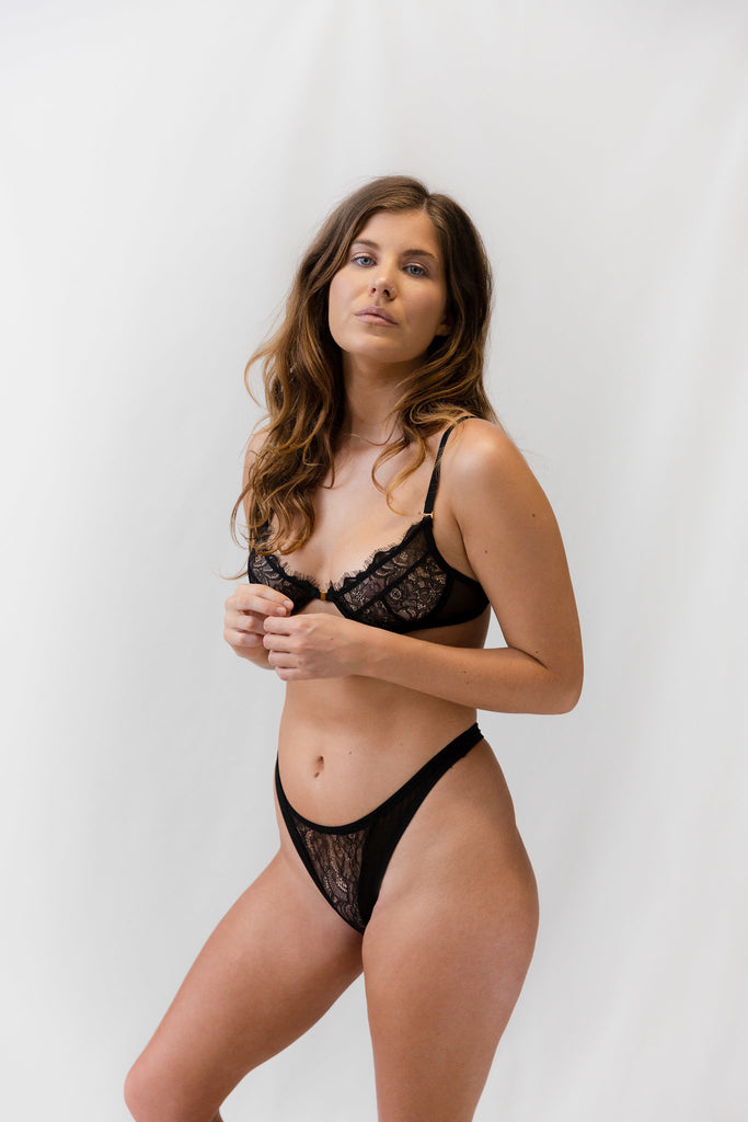 Dahlia Black Lace Bra - Dantelle Collective