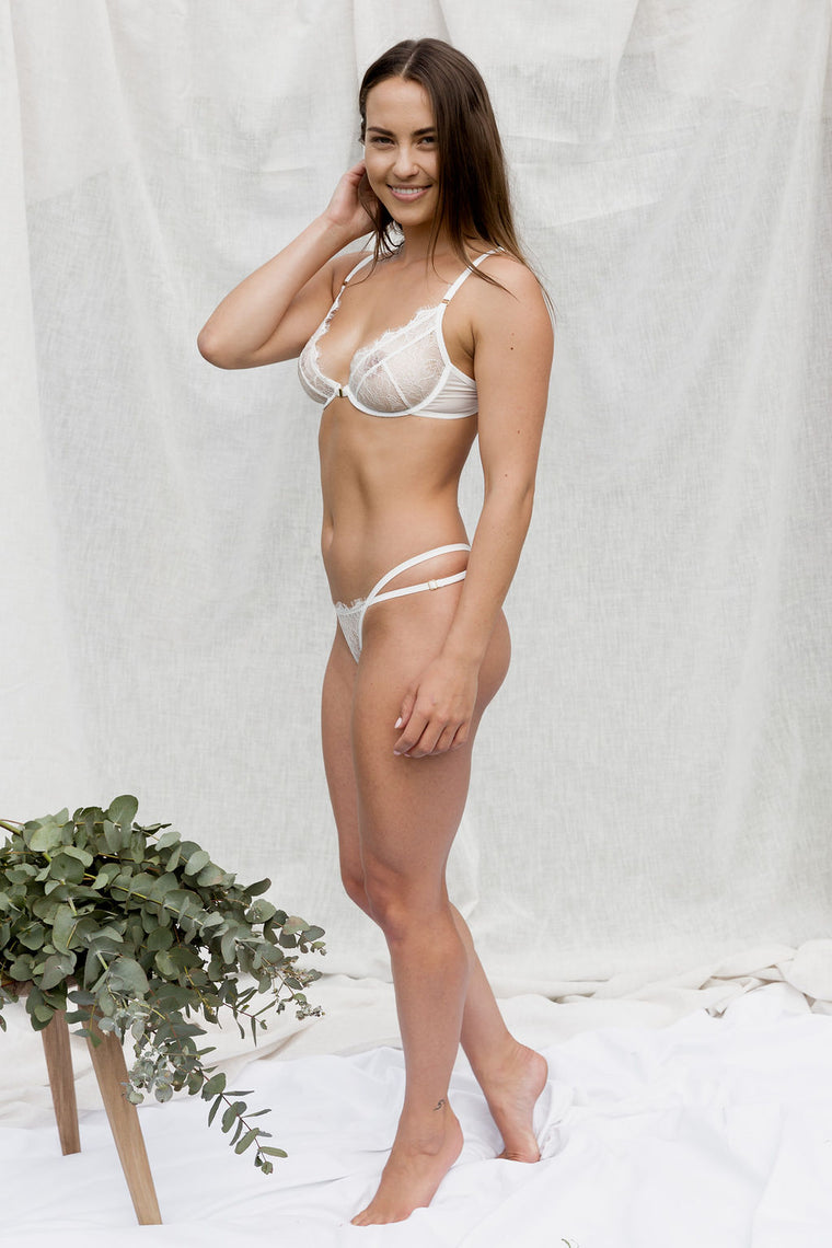 Camellia White Lace Thong