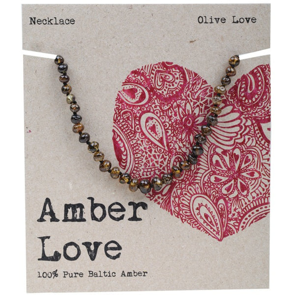 Amber Love Olive Child Necklace 33cm - Essentially Health Online Vegan Health Store