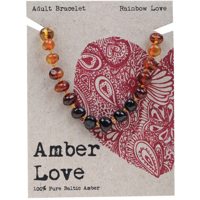 Amber Love Rainbow Adult Bracelet 20cm - Essentially Health Online Vegan Health Store Afterpay