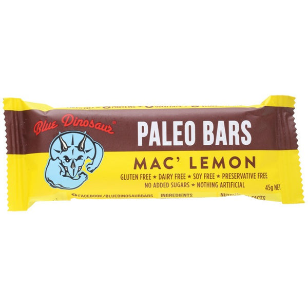 Blue Dinosaur Macadamia and Lemon Bar 45g - Essentially Health Online Vegan Health Store