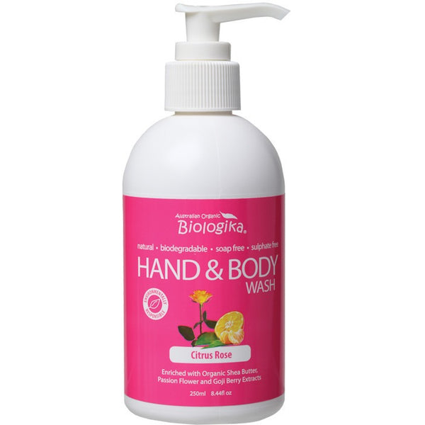 Biologika Hand & Body Wash Citrus Rose 250ml - Essentially Health Online Vegan Health Store Afterpay