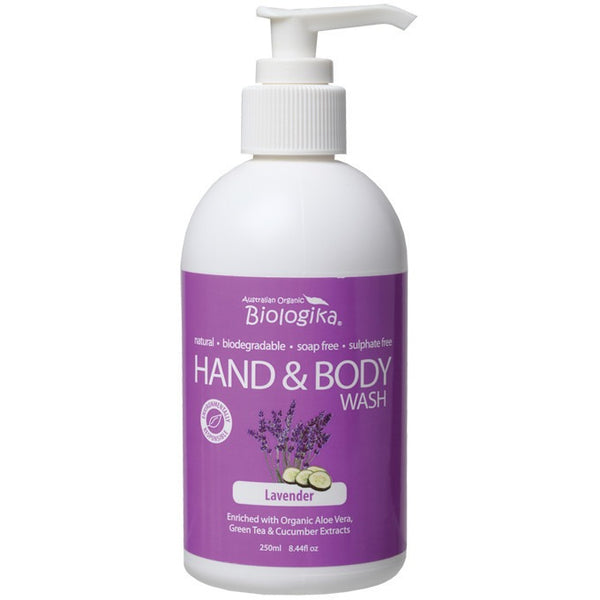 Biologika Hand & Body Wash Lavender 250ml - Essentially Health Online Vegan Health Store Afterpay