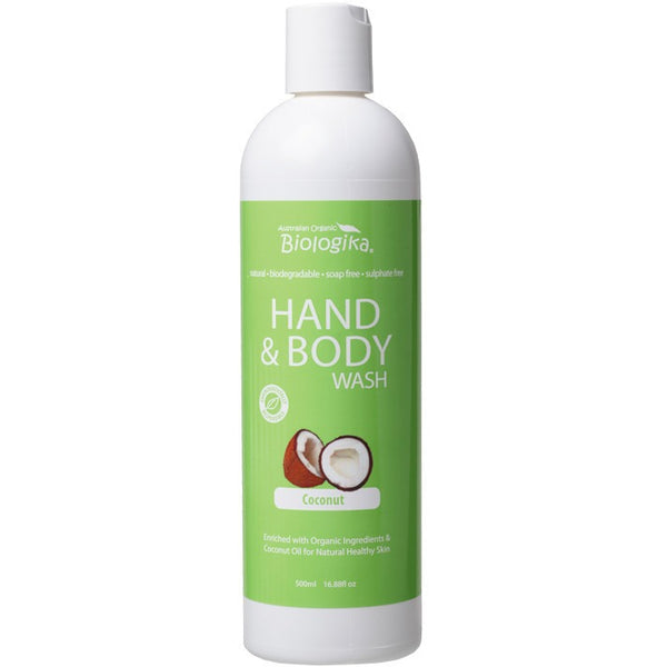 Biologika Hand & Body Wash Coconut 500ml - Essentially Health Online Vegan Health Store Afterpay