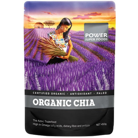 "Power Super Foods Chia Seeds - Certified Organic ""The Origin Series"" 450g - Essentially Health Online Vegan Health Store"