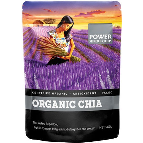"Power Super Foods Chia Seeds - Certified Organic ""The Origin Series"" 200g - Essentially Health Online Vegan Health Store"