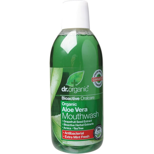 Dr Organic Mouthwash Organic Aloe Vera 500ml - Essentially Health Online Vegan Health Store