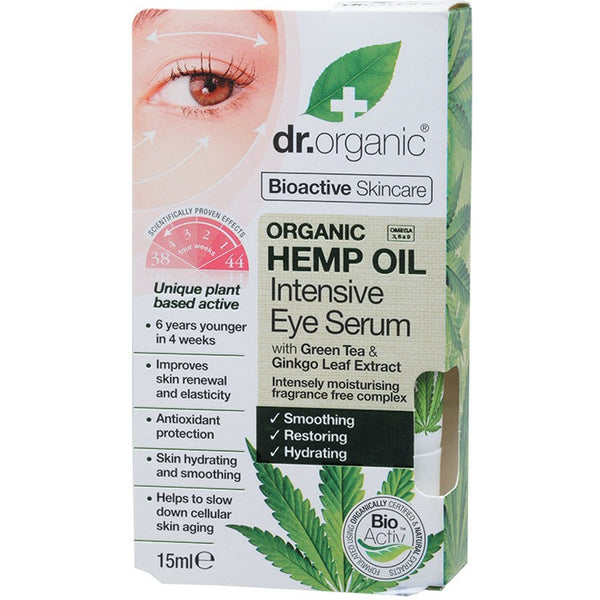 Dr Organic Hemp Oil Intensive Eye Serum 15ml - Essentially Health Online Vegan Health Store