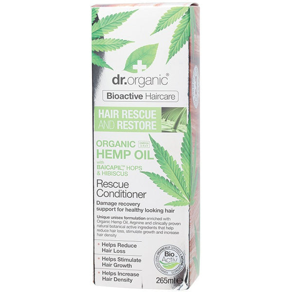 Dr Organic Hemp Oil Hair Rescue and Restore Conditioner 265ml - Essentially Health Online Vegan Health Store