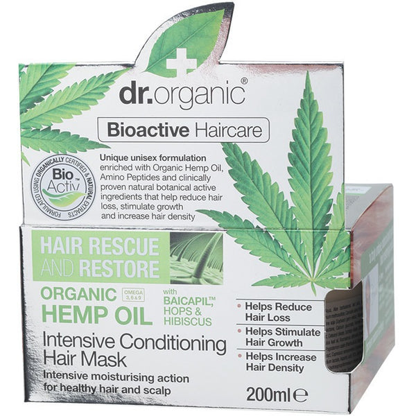 Dr Organic Hemp Oil Hair Rescue and Restore Hair Mask 200ml - Essentially Health Online Vegan Health Store