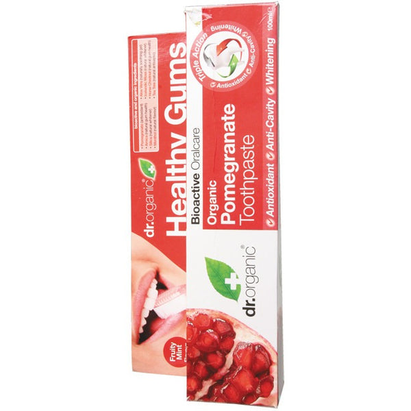 Dr Organic Organic Pomegranate Toothpaste 100ml - Essentially Health Online Vegan Health Store