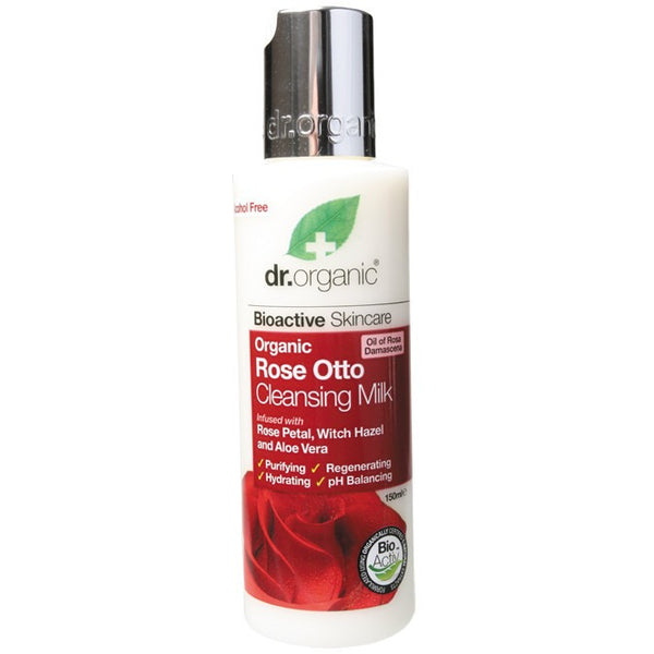 Dr Organic Organic Rose Otto Cleansing Milk 150ml - Essentially Health Online Vegan Health Store