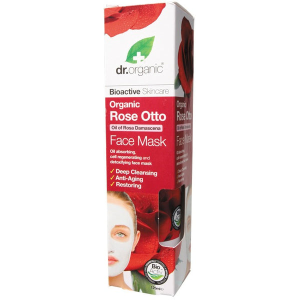 Dr Organic Organic Rose Otto Face Mask 125ml - Essentially Health Online Vegan Health Store