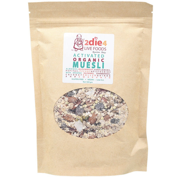 2die4 Live Foods Activated Organic Muesli - 300g - Essentially Health Online Vegan Health Store Afterpay