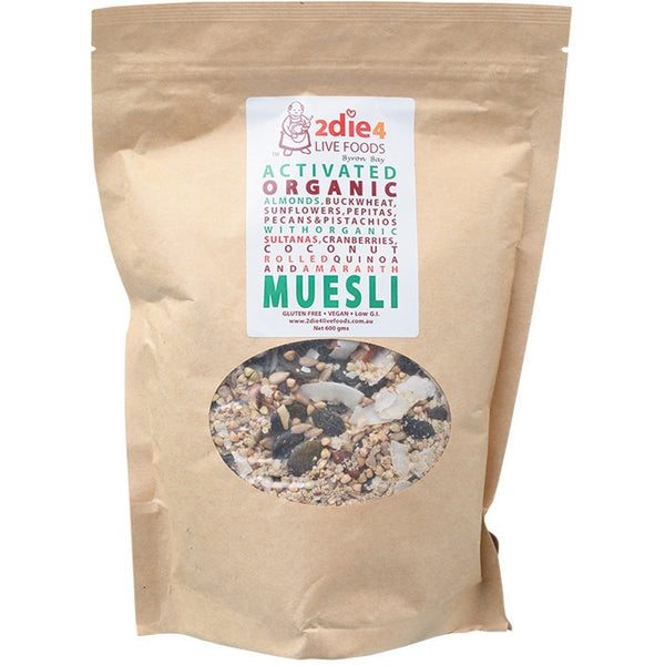 2die4 Live Foods Activated Organic Muesli - 600g - Essentially Health Online Vegan Health Store Afterpay
