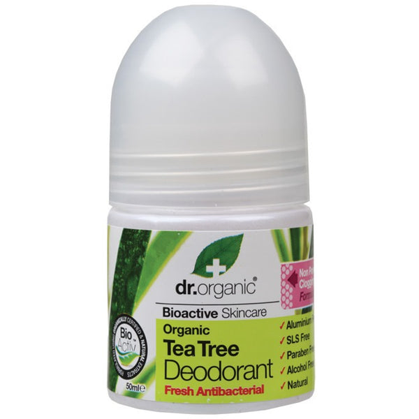 Dr Organic Organic Tea Tree Roll-on Deodorant 50ml - Essentially Health Online Vegan Health Store Afterpay