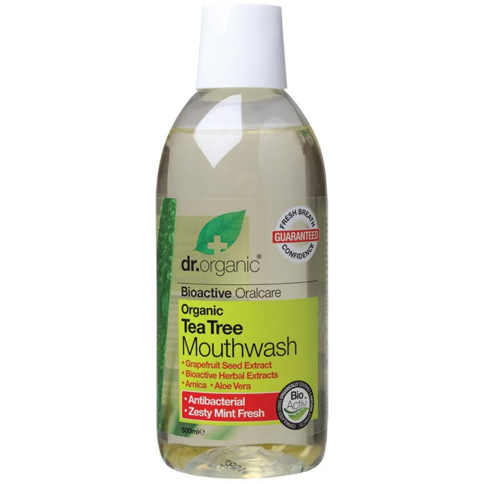 Dr Organic Organic Tea Tree Mouthwash 500ml - Essentially Health Online Vegan Health Store Afterpay