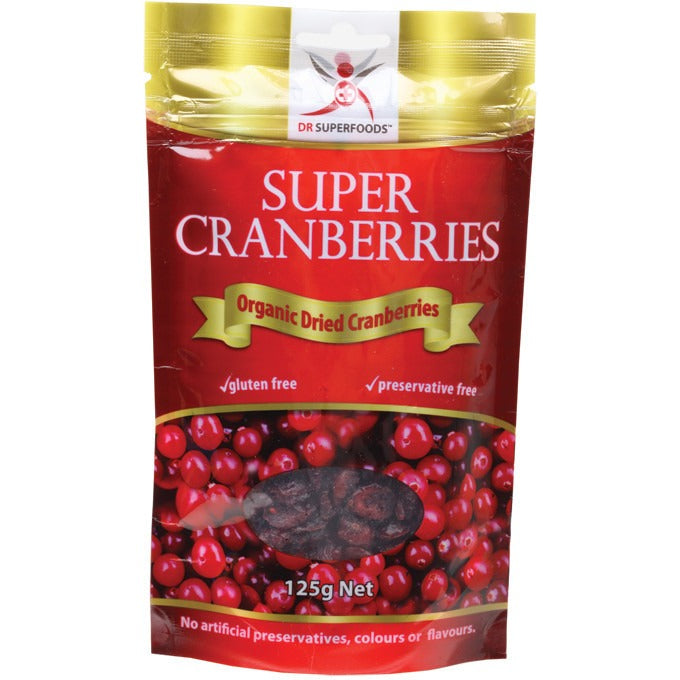Dr Superfoods Dried Cranberries Super Cranberries 125g - Essentially Health Online Vegan Health Store Afterpay