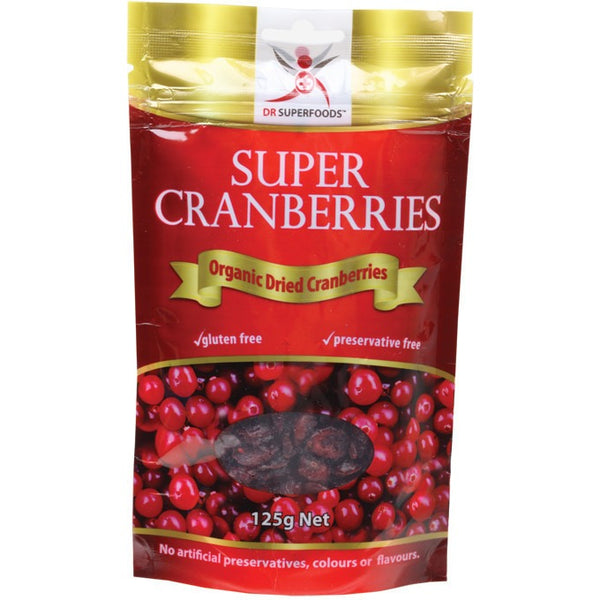 Dr Superfoods Dried Cranberries Super Cranberries 125g - Essentially Health Online Vegan Health Store
