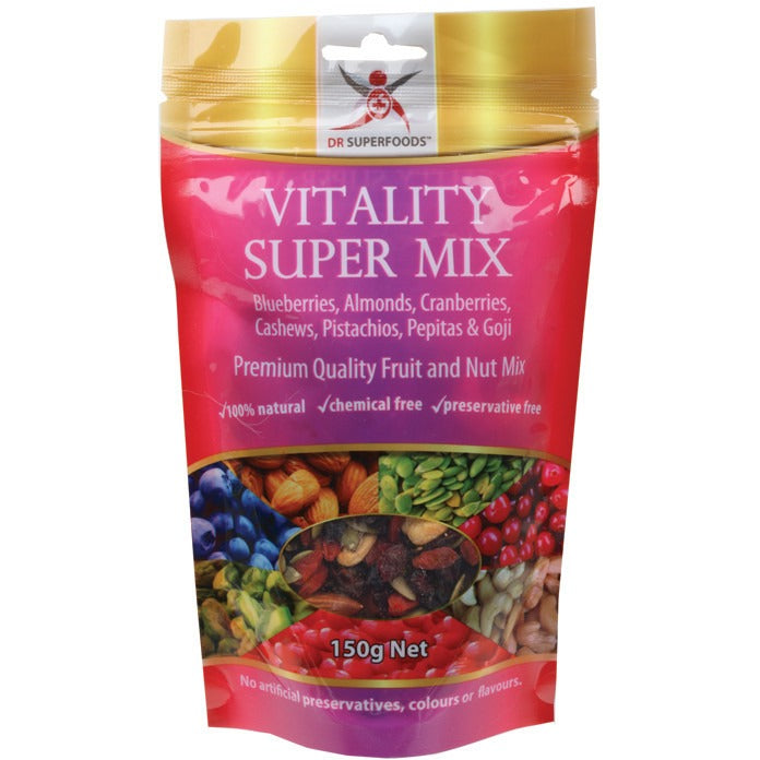 Dr Superfoods Blueberry, Cranberry, Goji & Nuts Vitality Super Mix 150g - Essentially Health Online Vegan Health Store Afterpay