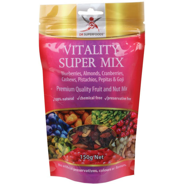 Dr Superfoods Blueberry, Cranberry, Goji & Nuts Vitality Super Mix 150g - Essentially Health Online Vegan Health Store